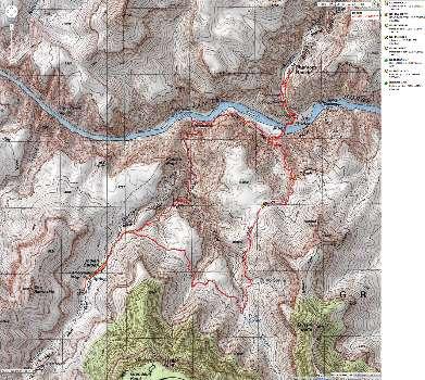 Map - IG or BA to Old BA Trail to BA and up via Miner Route to Tonto - 13 mi