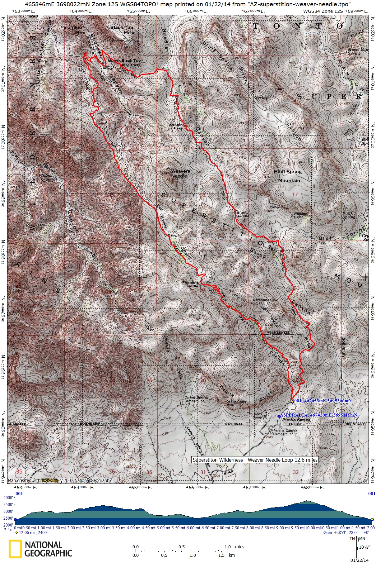 peralta th to weavers needle loop  miles (click the image to see themap). superstition wilderness black top mesa loop weaver needle loop